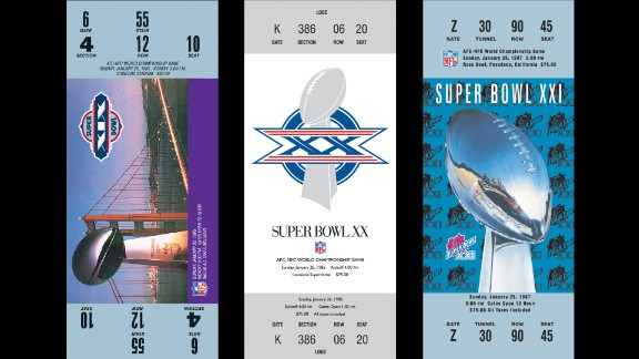 Tickets for Super Bowls XIX, XX and XXI.
