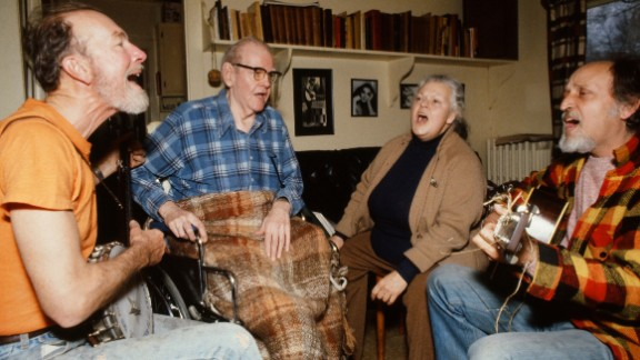 Seeger, from left, Lee Hays, Ronnie Gilbert and Fred Hellerman rehearse for a reunion concert of the Weavers in 1980.