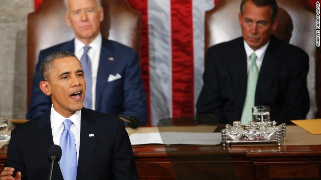 President Barack Obama gives his State of the Union address on Capitol Hill in Washington, Tuesday Jan. 28, 2014, as Vice President Joe Biden and House Speaker John Boehner of Ohio, listen. (AP Photo/Charles Dharapak)