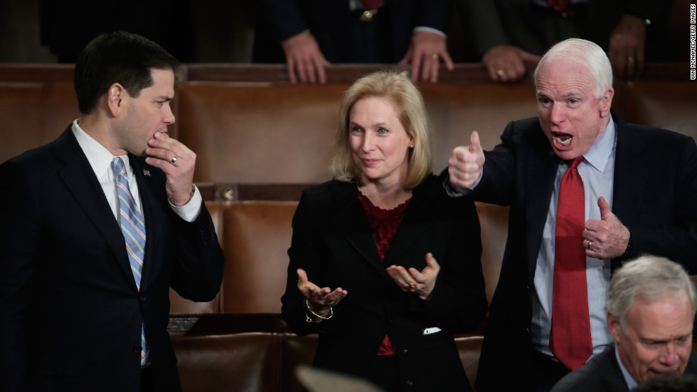 From left, U.S. Sen. Marco Rubio, R-Florida; U.S. Sen. Kirsten Gillibrand, D-New York; and U.S. Sen. John McCain, R-Arizona, wait for Obama's speech.