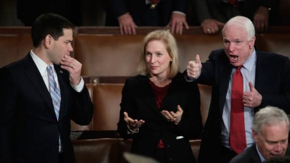 From left, U.S. Sen. Marco Rubio, R-Florida; U.S. Sen. Kirsten Gillibrand, D-New York; and U.S. Sen. John McCain, R-Arizona, wait for Obama's speech.