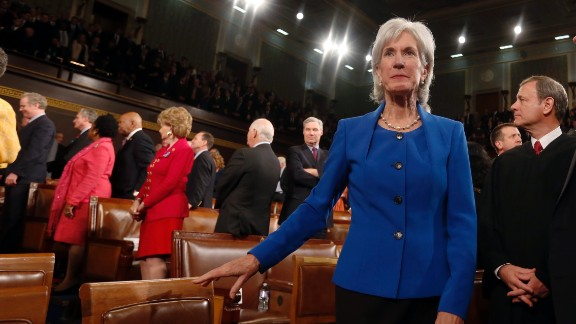 """Health and Human Services Secretary Kathleen Sebelius arrives for the address. Obama called on Republicans to stop trying to undermine his 2010 health care reform law passed with no GOP support, saying, """"The American people aren't interested in refighting old battles."""""""