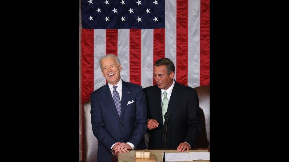 Vice President Joe Biden, left, and Speaker of the House John Boehner before the speech.
