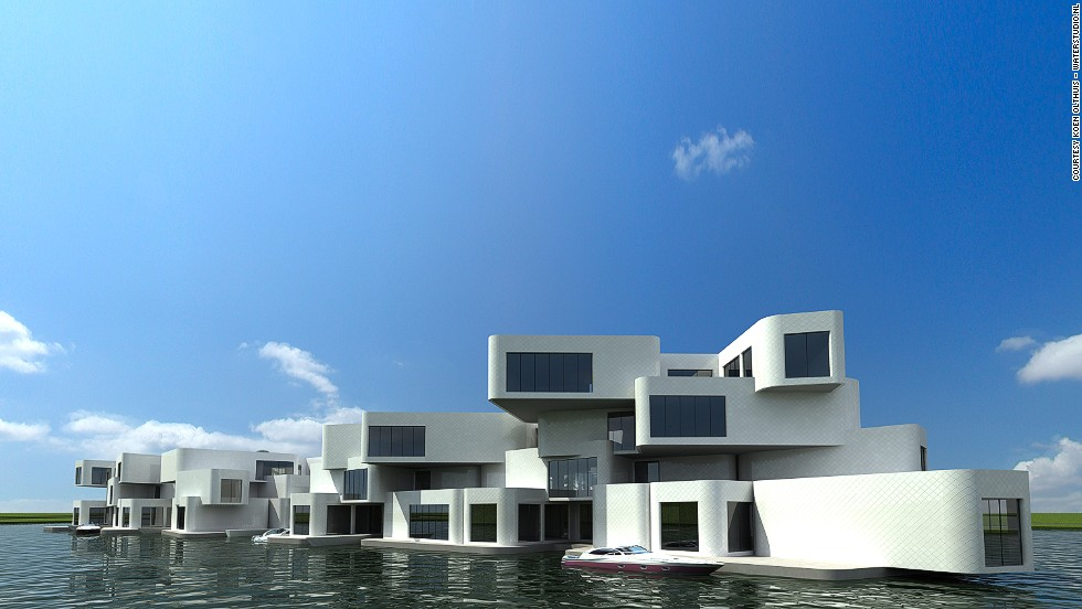 "<em>The Citadel</em><br /><br />For centuries, the Dutch reclaimed land from the sea to build dwellings in its low-lying terrain. Now, the architectural firm <a href=""http://www.waterstudio.nl/"" target=""_blank"">Waterstudio</a> has decided to embrace water rather than fight it, and has designed the world's first floating apartment complex - <a href=""http://www.waterstudio.nl/projects/54"" target=""_blank"">The Citadel</a>. It is due to be completed in December, and will have 60 luxury apartments with large terraces and parking spaces."