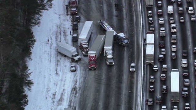 Snow and ice freeze traffic for South