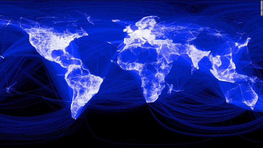 Facebook published this map in 2013 that shows its global reach. The lighter a country or region, the higher its concentration of Facebook users (note the black hole of China). But some believe the social network has reached a saturation point and is poised for a decline, especially among fickle younger users.