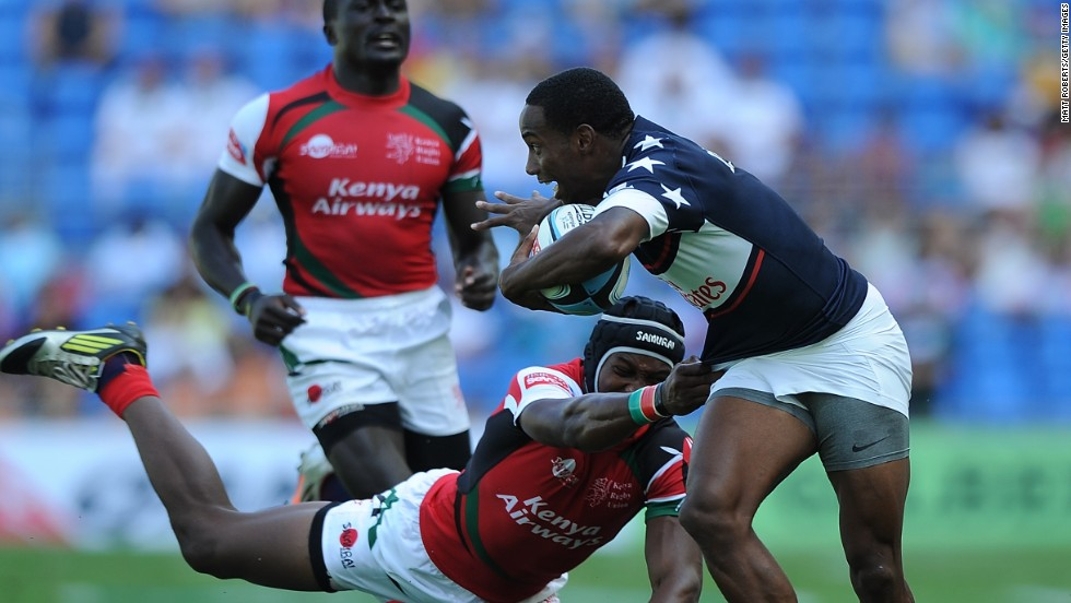 Isles is about to burst clear to score against Kenya during Gold Coast Sevens tournament in Australia last year.