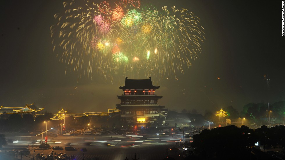 Fireworks light up the sky to mark the Lunar New Year late on January 30 in Changsha, the capital of central China's Hunan province.