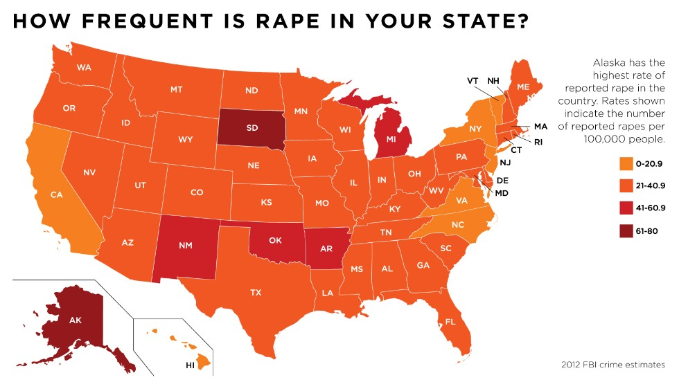 Change the List States where rape is most common CNN