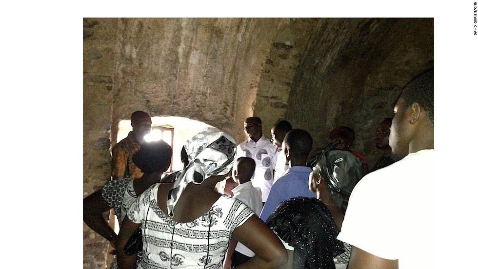 Clark (foreground right, in white shirt) listens to the tour guide explain the life of the slaves imprisoned at Cape Coast Castle. The Swedes built the first fort on the site. It was later held by the Dutch, and then the British, who carried out the slave trade from there. The present castle is the result of extensive British renovations in the late 1700s.