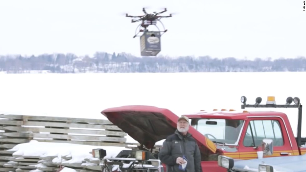 "An ill-feted venture in Minnesota saw ice fishers and local brewers rebuked for using drones to deliver beer cases in 2014. Beer company Lakemaid ran afoul of the Federal Aviation Administration because flying drones for commercial purposes at 400 feet or higher was against the law. Stock up on dry land next time, guys. <a href=""/2014/01/31/tech/innovation/beer-drone-faa/index.html"" target=""_blank"">Read more. </a>"