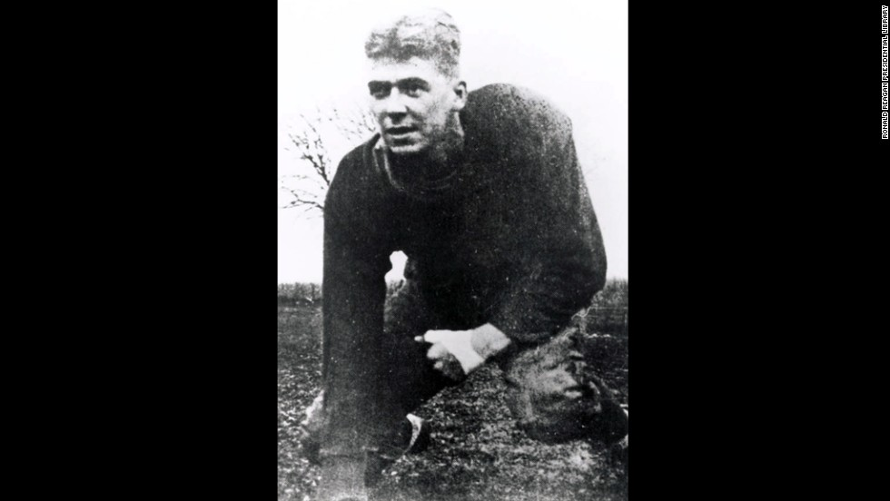 When this photo was taken in 1929, Reagan played football at Eureka College. He also was a member of the school swimming and track teams.