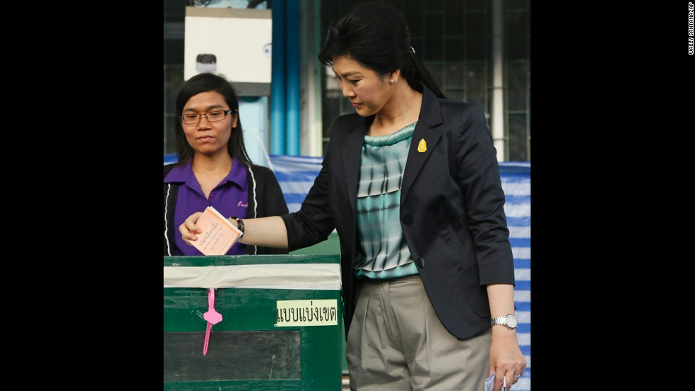 Thai Prime Minister Yingluck Shinawatra casts her ballot on February 2.