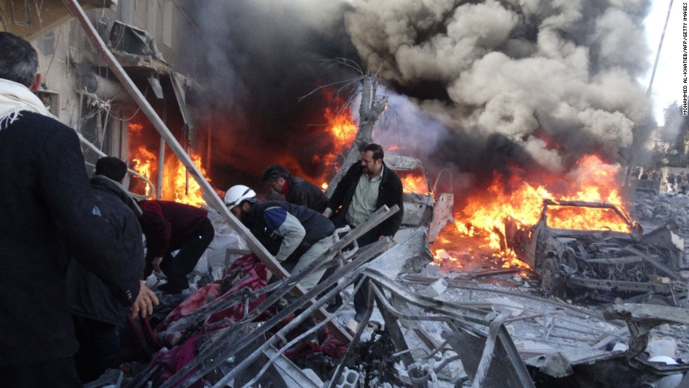 Medical personnel look for survivors after a reported airstrike in Aleppo, Syria, on Saturday, February 1.