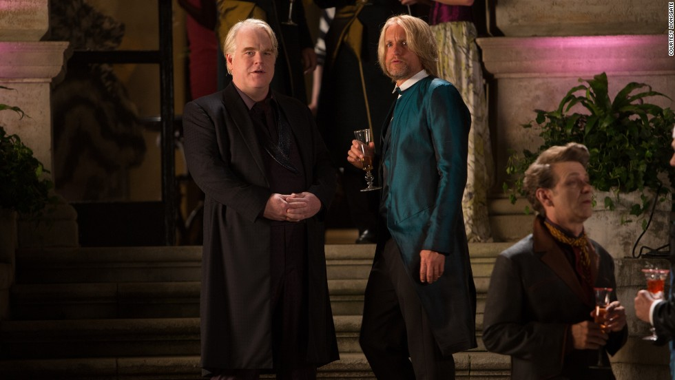 "Philip Seymour Hoffman appears with Woody Harrelson in 2013's ""The Hunger Games: Catching Fire."""