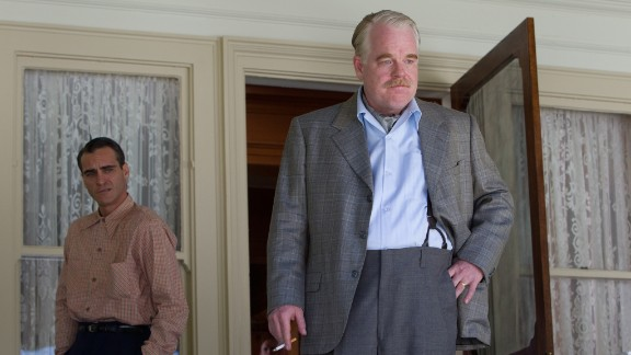 "Hoffman appears with Joaquin Phoenix in ""The Master"" (2012). He received Oscar and Golden Globe nominations in the supporting actor category for his work in the film."