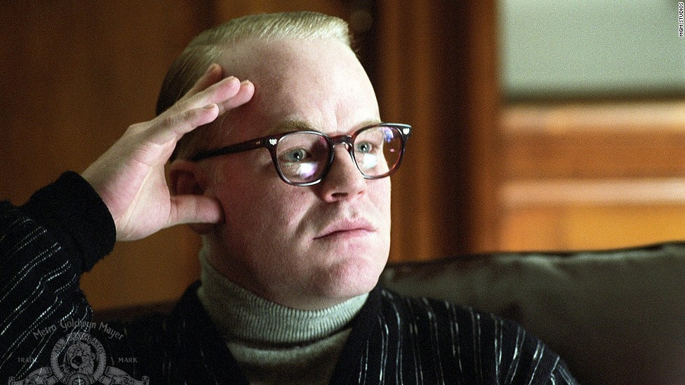 "Hoffman plays the title role in 2005's ""Capote."" He won the Oscar for best actor in a leading role for his performance as Truman Capote, who wrote ""In Cold Blood."" Hoffman also won a Golden Globe for the role."