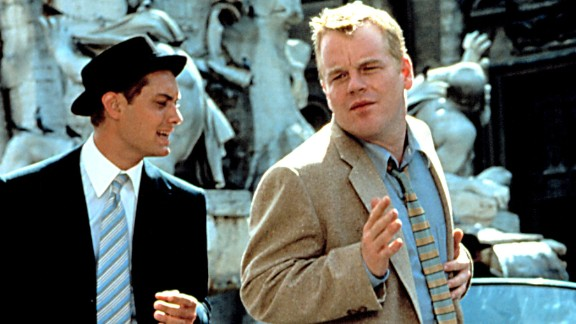 "Jude Law and Hoffman share a scene in 1999's ""The Talented Mr. Ripley."" Hoffman was hailed as a scene stealer in the psychological thriller set in Italy."