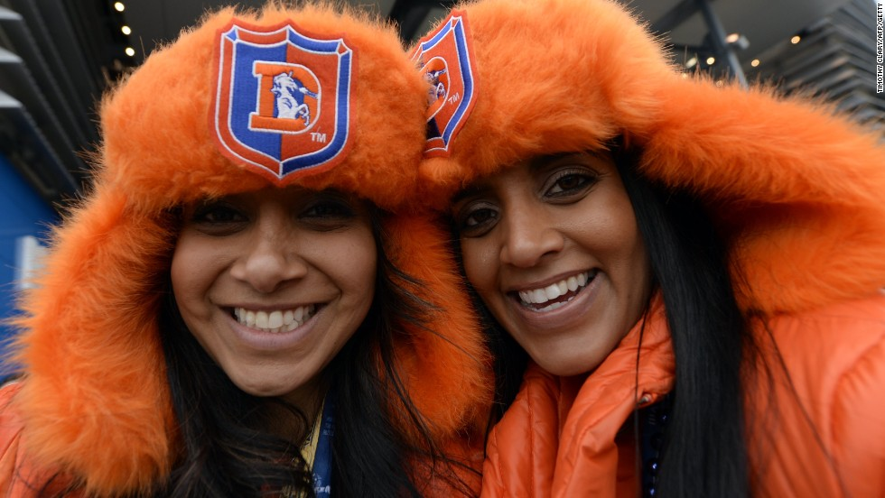 Denver Broncos fans were dressed for the chilly weather in New Jersey for Super Bowl XLVIII against Seattle Seahawks.