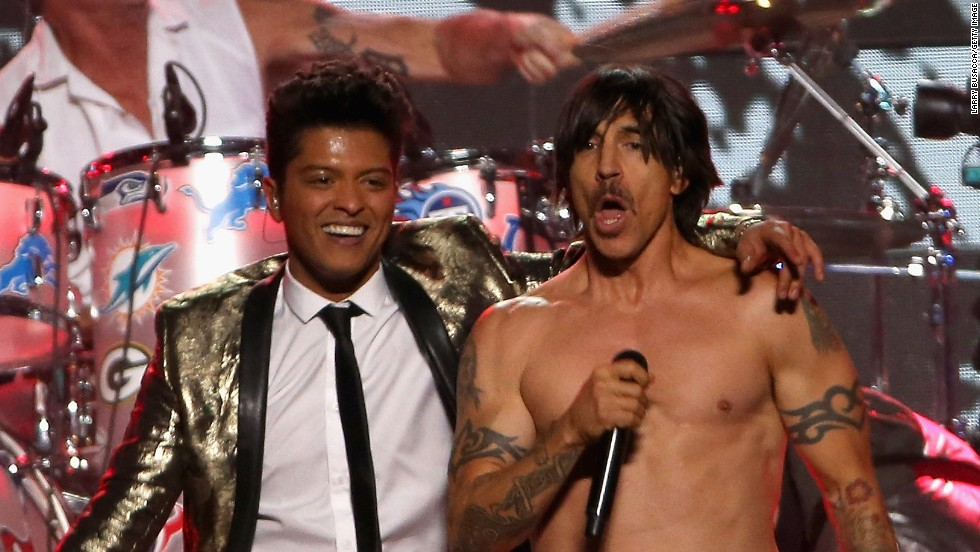 Bruno Mars and Anthony Kiedis of the Red Hot Chili Peppers join forces during the Super Bowl XLVIII halftime show in New Jersey.