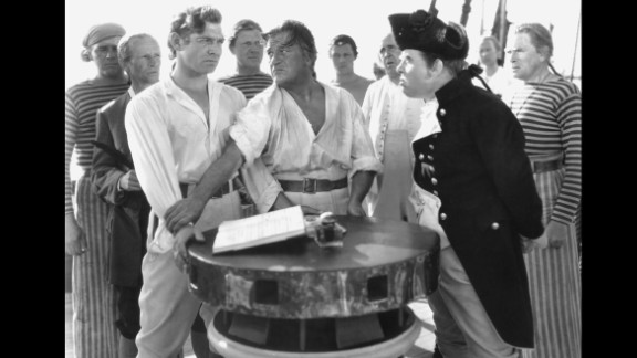 """""""Mutiny on the Bounty"""" (1936): Clark Gable was in the best picture winner the next year as well, playing Fletcher Christian in the 1935 version of """"Mutiny on the Bounty."""" Charles Laughton plays Captain Bligh."""