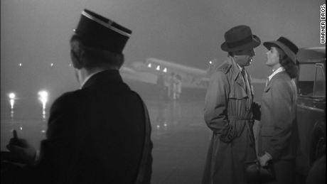 "Humphrey Bogart and  Ingrid Bergman in Michael Curtiz's ""Casablanca."""