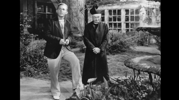 """""""Going My Way"""" (1945): Hollywood's favorite crooner became its favorite priest. Bing Crosby, left, won the best actor award as Father Chuck O'Malley in """"Going My Way."""" He encountered resistance from a crusty old priest (Barry Fitzgerald) when he tried to help an impoverished church parish."""