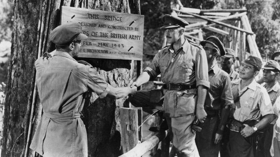 """""""The Bridge on the River Kwai"""" (1958): Director David Lean proved filmmakers could make intelligent epics such as """"The Bridge on the River Kwai."""" Already a star in British films, Alec Guinness won international fame and a best actor Oscar as a British colonel held prisoner with his men in a Japanese camp during World War II."""