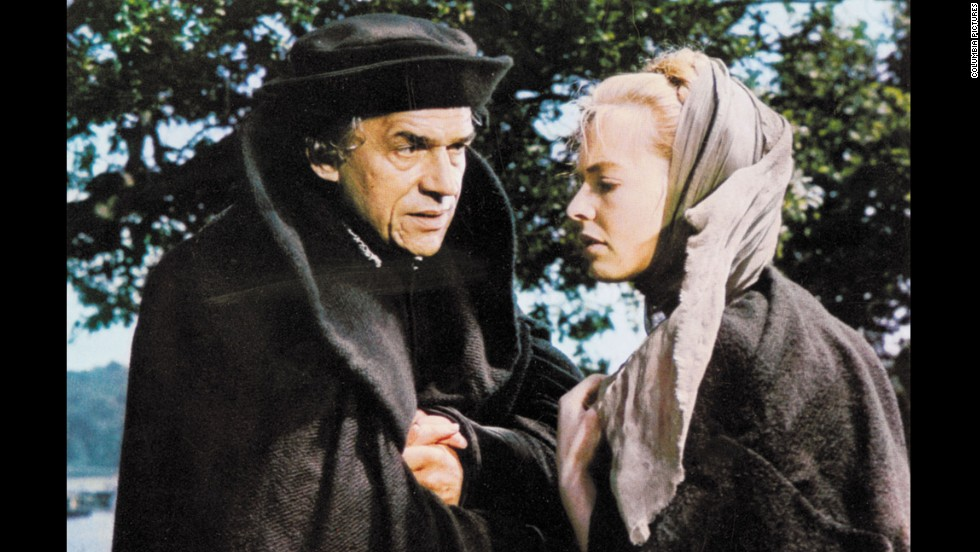 "Paul Scofield re-created his stage role as Sir Thomas More in Fred Zinnemann's film version of the Robert Bolt drama ""A Man for All Seasons."" The film portrayed More as a man of conscience who refused to recognize King Henry VIII as head of the Church of England because of his denial of the Pope's authority. Scofield and director Zinnemann both won Oscars for their work. Susannah York, right, co-starred."