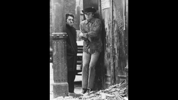 """""""Midnight Cowboy"""" (1970): John Schlesinger's """"Midnight Cowboy"""" was the first best picture Oscar winner to be rated X, reflecting the easing of censorship in the late '60s. The movie established Jon Voight, right, as a star for his portrayal of a dumb, naive Texan who fancies himself a gigolo to rich women in New York but ends up a hustler. Fresh from """"The Graduate,"""" co-star Dustin Hoffman as con man Ratso Rizzo proved he was one of the top actors of his generation."""