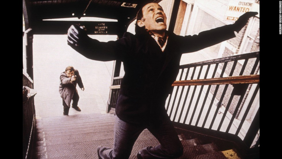 "Gene Hackman as Detective ""Popeye"" Doyle goes after hit man Marcel Bozzuffi in William Friedkin's ""The French Connection."" This best picture winner about New York cops trying to stop a huge heroin shipment from France features one of the movies' most memorable chase scenes."