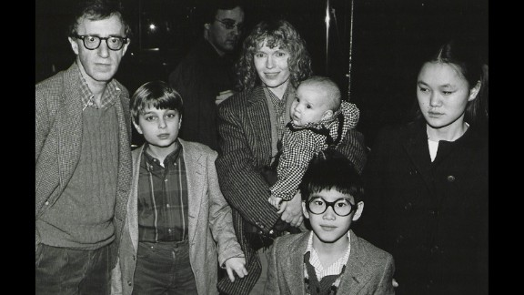 Mia Farrow has had 15 children, including three biological offspring with former husband composer Andre Previn, son Satchel (later known as Ronan) born during her relationship with Allen and several children she adopted. Here, she poses with Allen and her children, from left, Misha, Dylan (in Farrow