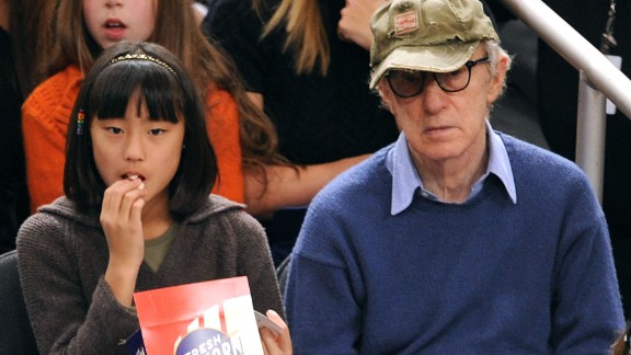 Woody Allen and adopted daughter Bechet Dumaine Allen attend a basketball game in 2009 at Madison Square Garden in New York. Her mother is Allen