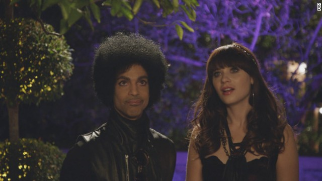"Music royalty Prince (L) makes a special guest appearance in the ""Prince"" episode of NEW GIRL airing Sunday, Feb. 2 (approx. 10:30-11:00 PM ET/7:30-8:00 PM PT), immediately after FOX Sports' coverage of SUPER BOWL XLVIII on FOX. Also pictured: Zooey Deschanel (L)"