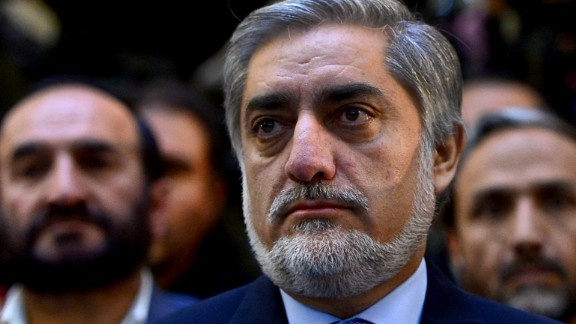 Afghan presidential candidate Abdullah Abdullah attends an election gathering in Kabul on February 2, 2014.