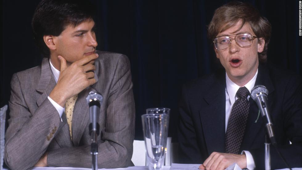 Gates appears with Apple co-founder Steve Jobs in New York in 1985.