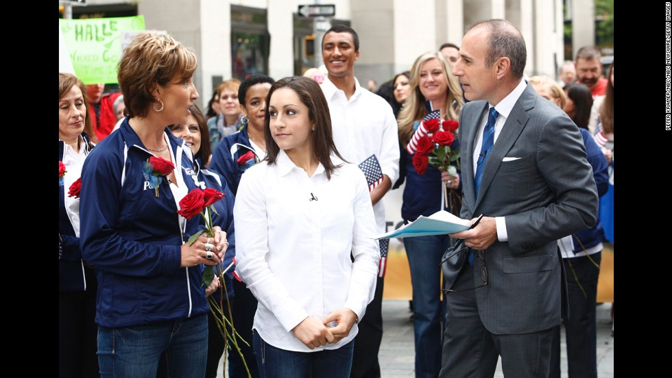"U.S. gymnast Jordyn Wieber listens as her mother, Rita, talks to NBC's Matt Lauer on the ""Today"" show in 2012."