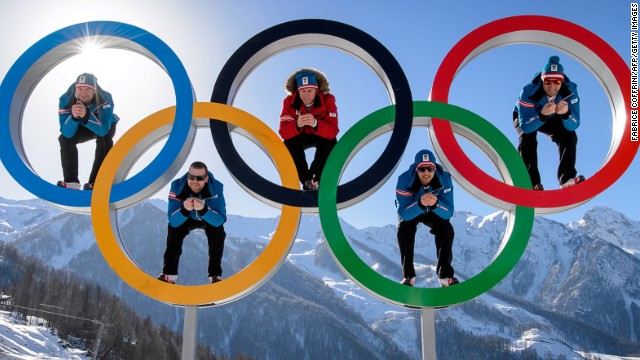 Austrian alpine skiers (FromL) Georg Streitberger, Klaus Kroell, Max Franz, Joachim Puchner and Romed Baumann pose in the Olympic Rings on February 4, 2014 at the Mountain Olympic Village at the Rosa Khutor Alpine centre, four days prior to the start of the 2014 Sochi Winter Olympic Games. AFP PHOTO / FABRICE COFFRINI (Photo credit should read FABRICE COFFRINI/AFP/Getty Images
