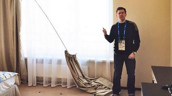 "CNN producer Harry Reekie posts this picture to Twitter saying ""This is the one hotel room Sochi2014 have given us so far."""