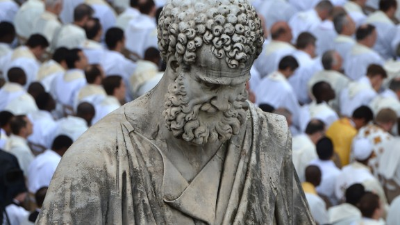 Picture of the statue of St Peter taken during a ceremony of Solemnity of Our Lord Jesus Christ the King at St Peter's square on November 24, 2013 at the Vatican.