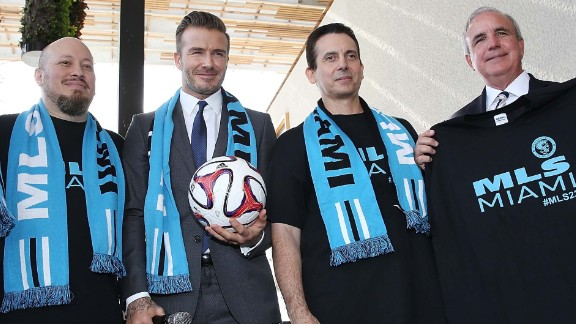 MIAMI, FL - FEBRUARY 05: Commissioner Don Garber, David Beckham and Mayor Carlos Gimenez attends a press conference to announce their plans to launch a new Major League Soccer franchise at PAMM Art Museum on February 5, 2014 in Miami, Florida. (Photo by Aaron Davidson/Getty Images)