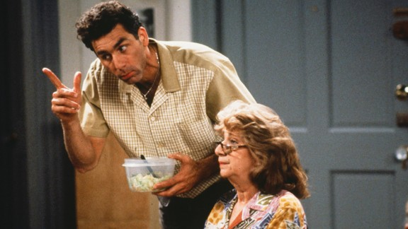 Michael Richards won fans over as Cosmo Kramer, seen here with Liz Sheridan as Helen Seinfeld.