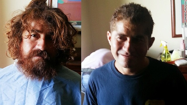 """Castaway"" Jose Alvarenga after a haircut and shave, provided by Marshall Islands' Immigration Chief Damien Jacklick. The castaway washed up on a remote coral atoll in the Marshall Islands last week in a heavily damaged boat, claiming to have been lost at sea for 13 months."
