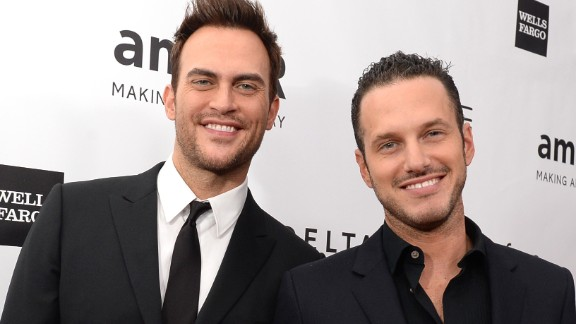 """""""Glee"""" actor Cheyenne Jackson, left, reportedly married actor Jason Landau on September 2014. According to People, the pair had an outdoor interfaith ceremony at a friend's estate in Encino, California."""