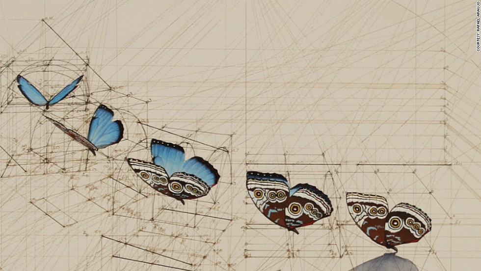 Detail of the butterflies which take flight amid a web of lines and helixes.