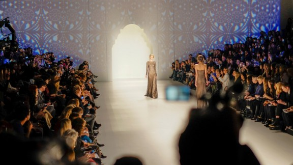 """Tadashi Shoji said his inspiration was the """"beauty, romance, and mystery of the Alhambra Palace"""" in Granada, Spain."""