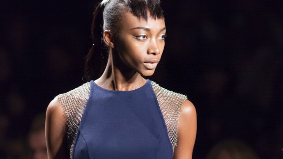 Carmen Marc Valvo presented his collection of feminine pieces on the second day of the event.