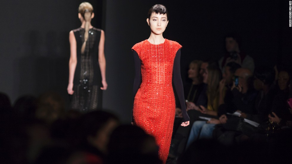 However, Carmen Marc Valvo still stayed true to his glamorous roots as seen in this red-orange sheath dress.
