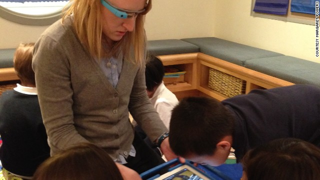 Margaret Powers wore Google Glass while introducing Pre-K students to a Mars rover augmented reality app.