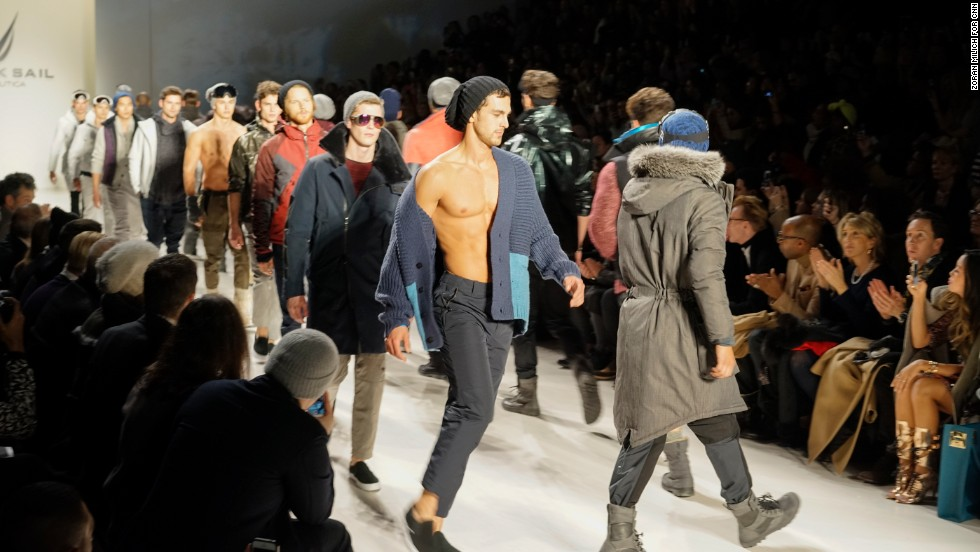 Models at Nautica re-emerge on the runway to conclude the show.